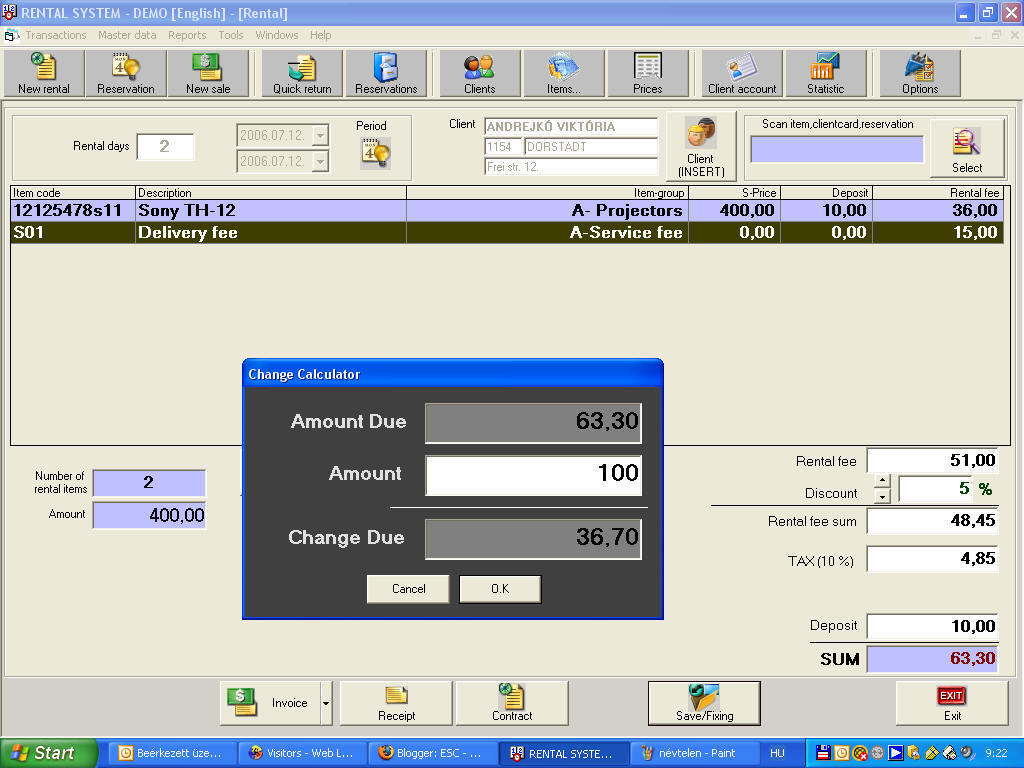 Screenshot of Rental Software